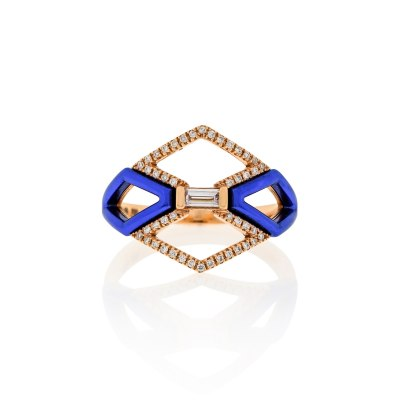 Geometric Blue Diamond Ring