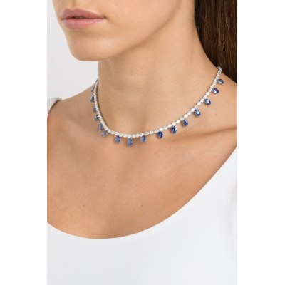 Kessaris-Sapphire Diamond Necklace