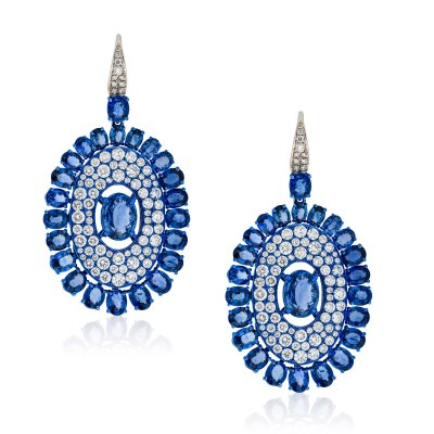 Kessaris-Sapphire Diamond Shield Earrings