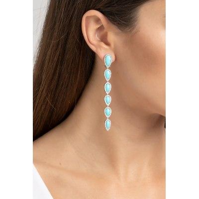 Turquoise & Diamond Drop Earrings