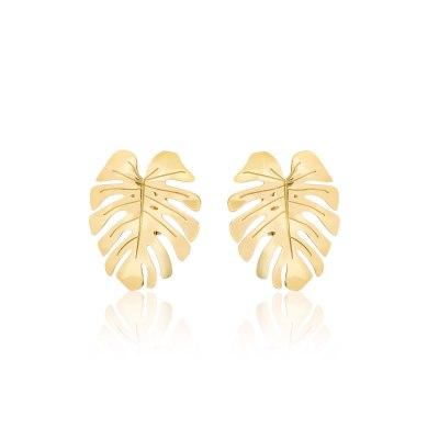 Statement Gold Monstera Earrings