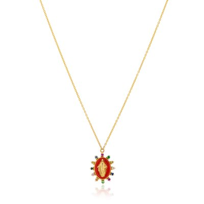 Kessaris-Madonna Multi Gemstone Necklace