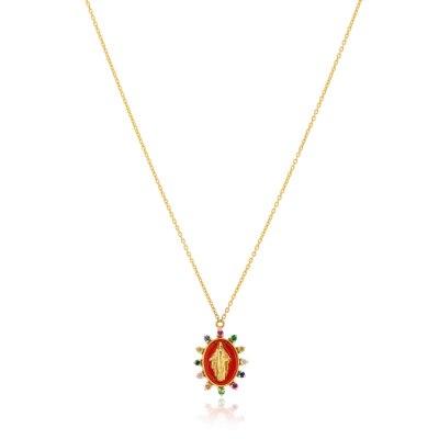 Kessaris-Madonna Multi Gemstone Necklace