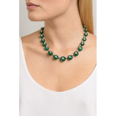 Kessaris-Emerald Diamond Beaded Necklace